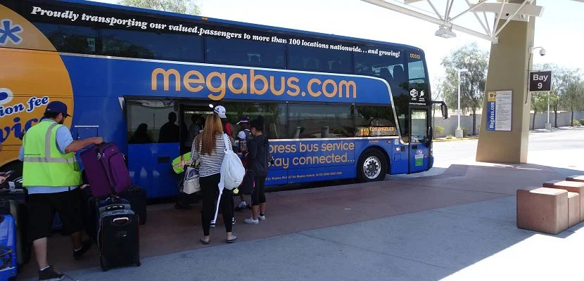 The Megabus awaits in Las Vegas.