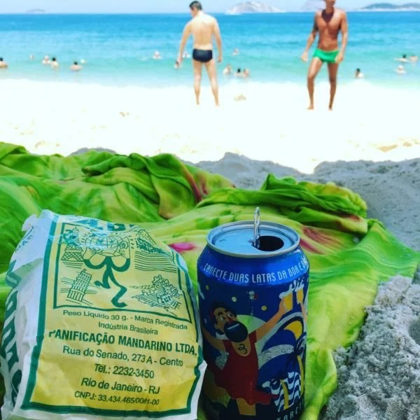 Ice cold Antartica beer and Globo biscuits on the beach. It doesn't get any more carioca than that! Photo courtesy of the author.