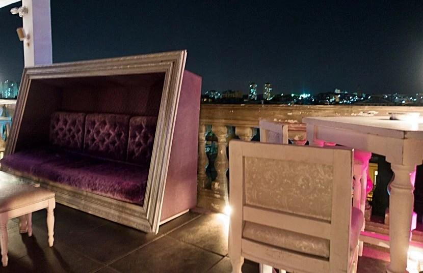 Lounge at La Guarida's rooftop bar.
