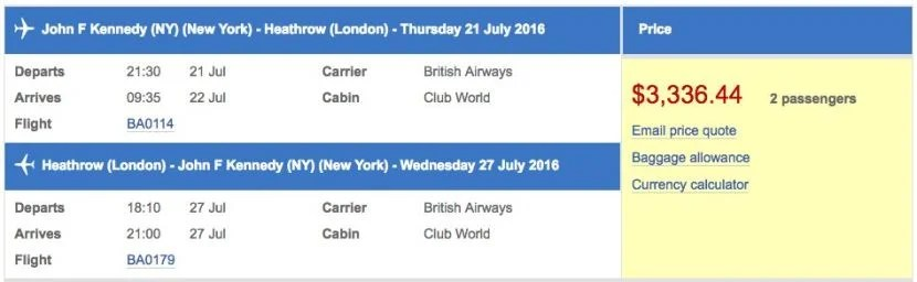 New York (JFK) to London (LHR) in business class on British Airways for $3,336 (two passengers).