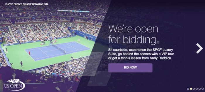 You can now bid on SPG Suite tickets to the US Open.