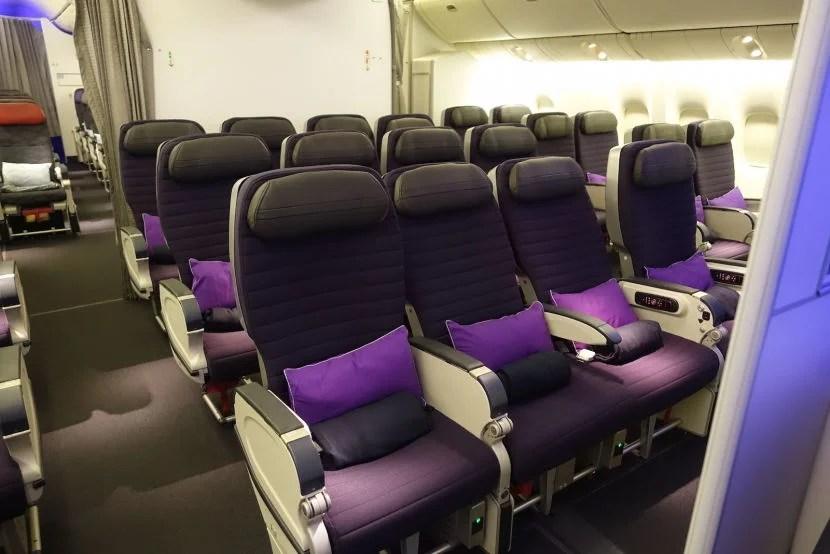 A look at the airline's new, smaller premium economy cabin.