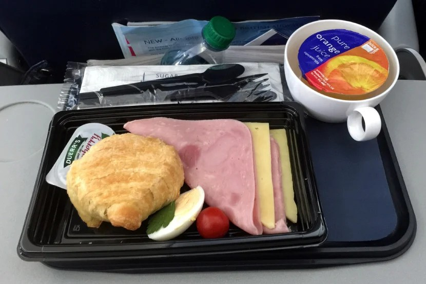 With a free meal in coach on this hour-long BA flight, business class wouldn't have been worth the cost for anyone.
