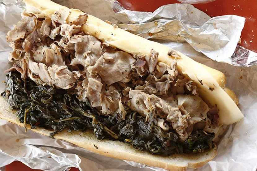 The iconic roast pork sandwich from John's. Image by Jason Varney, courtesy Visit Philly.