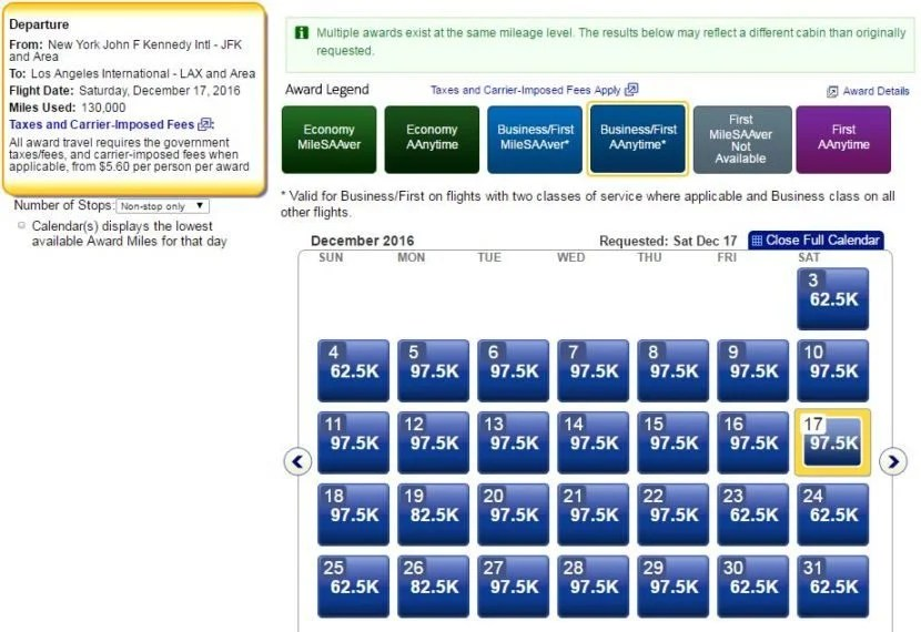 For business class flights between JFK and LAX, many dates are now pricing at the new AAnytime Level 4 rate of 97,500 each way.
