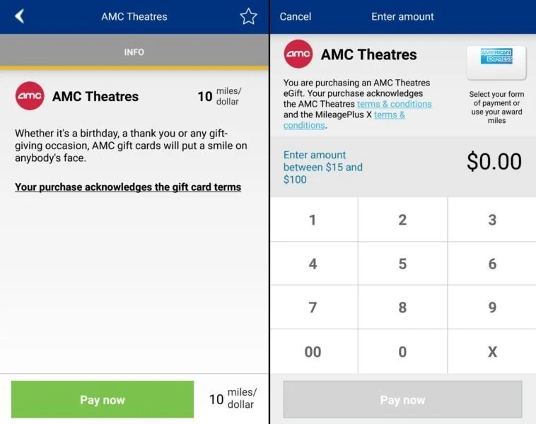 Next time you're buying AMC tickets, use the MileagePlus X app to get bonus United miles on your purchase.