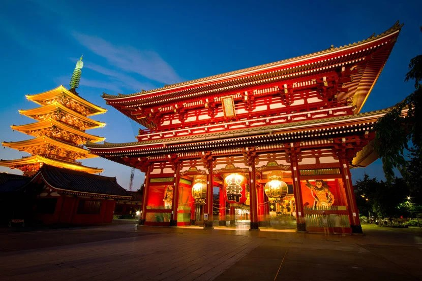 """Who's ready for a trip to Tokyo? Image courtesy of <a href=""""http://www.shutterstock.com/pic-113158996/stock-photo-the-hozomon-gate-of-the-asakusa-temple-with-the-pagoda-at-night-in-tokyo.html?src=hw_ZEwt_iA85QjNleO5Fkg-1-3"""">Shutterstock</a>."""