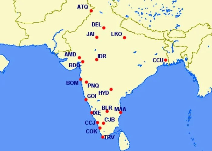 Delta will have codeshare flights across India. Image courtesy of Great Circle Mapper.