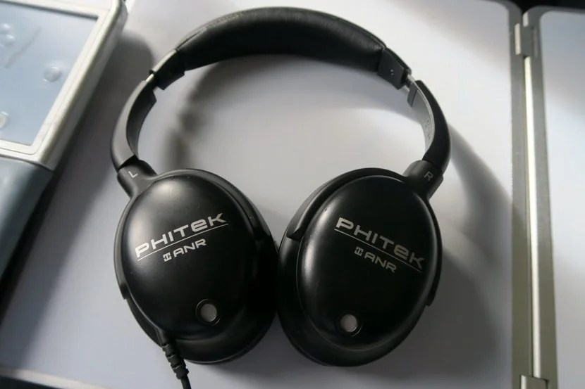Noise-cancelling headphones were provided for the flight.