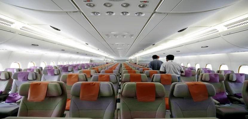Emirates economy cabin.