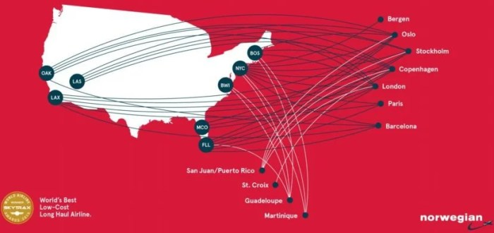 Norwegian's expansive route network from the US.