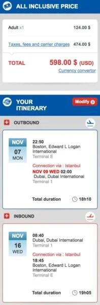 Boston (BOS) to Dubai (DXB) for $598 round-trip in November.