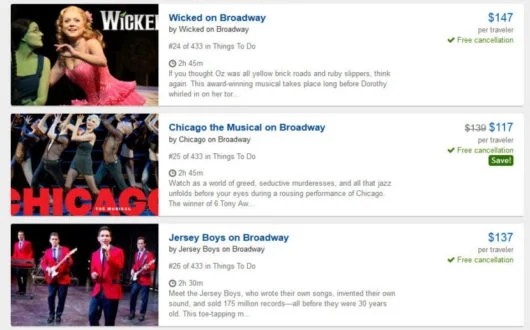 Travelocity also sells Broadway show tickets!