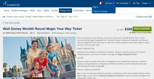"""Buy your Disney World tickets at Travelocity so it will code as """"travel""""."""