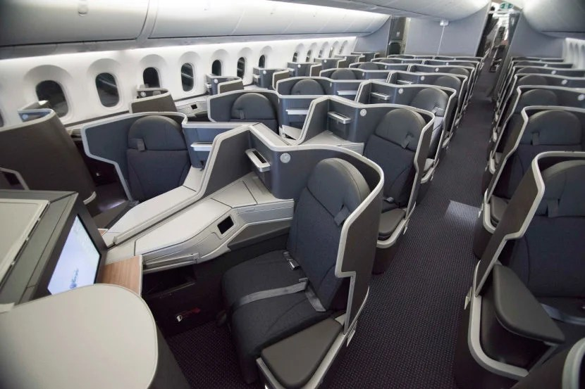 The 1-2-1 business class cabin on AA's 787-9. Photo courtesy of American Airlines.