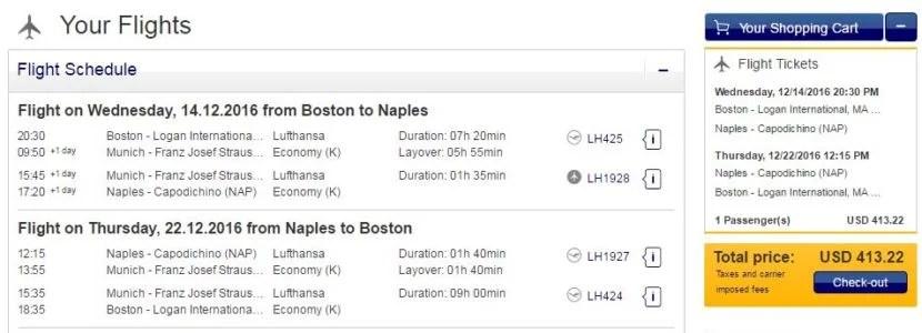 Boston (BOS) to Naples (NAP) for $413 round-trip