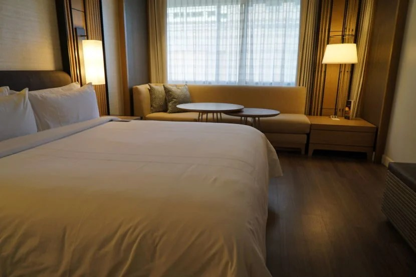 A redesigned guest room at Charlotte Marriott City Center.