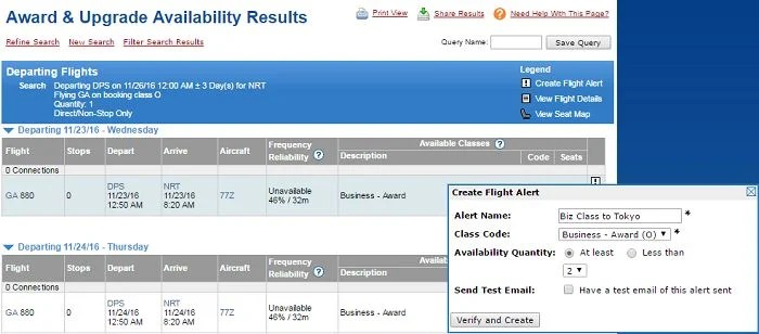 Set-up an award availability alert right from the search results.