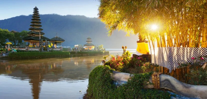 Pura Ulun Danu Bratan at sunrise.