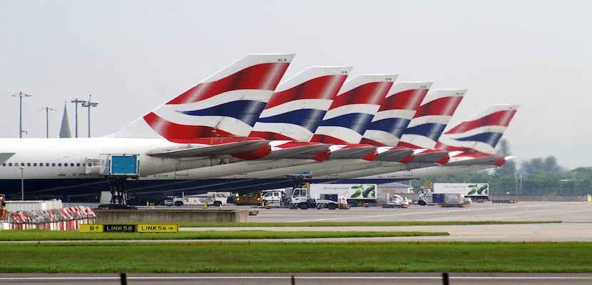 British Airways Livery, parked planes.