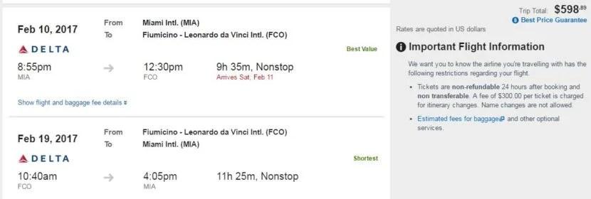 Miami (MIA) to Rome (FCO) for $599 round-trip on Delta codeshare.