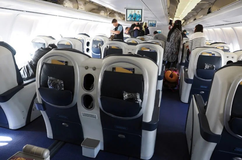 The business-class cabin of the A340-600.