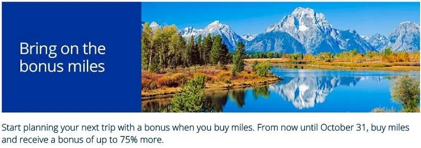 Earn up to a 75% bonus when you buy United miles with this tiered promotion.