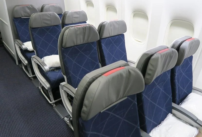 There are nine sets of two-person seats on this aircraft.