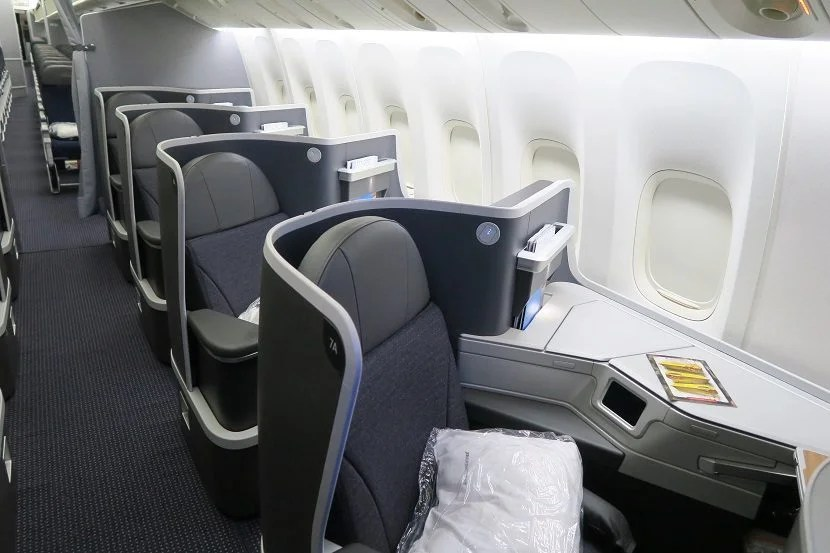 The window seats in the rear business class cabin.