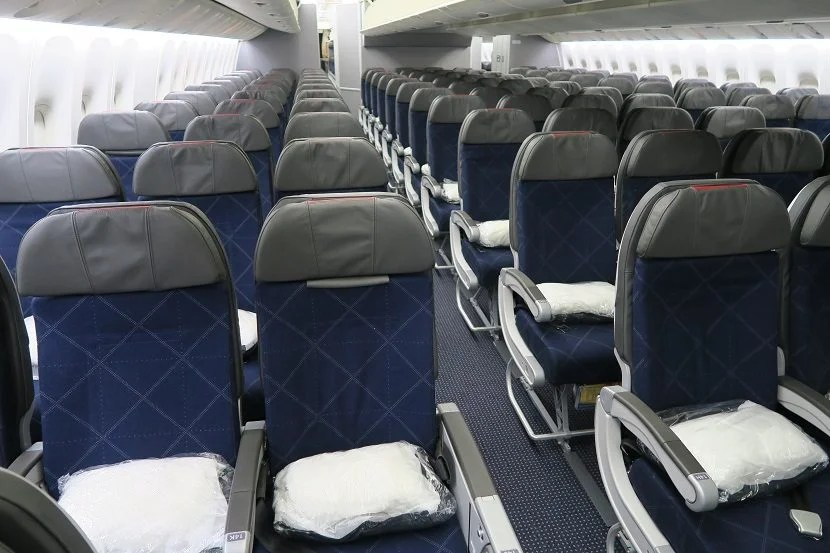 American Airlines' brand new — but narrow — 777-200 economy seats.
