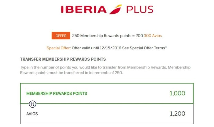 For the next month, you'll get a better deal when transferring Amex Membership Rewards to Iberia.