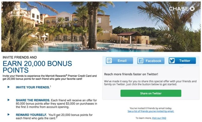Earn 20,000 Marriott Rewards points per successful referral through Chase's increased referral bonus.