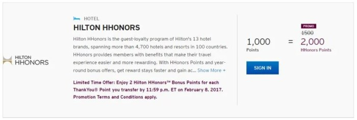 For the next few months, get 2 HHonors points for each transferred Citi ThankYou point.