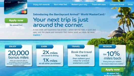 Barclaycard Arrival no fee promo material