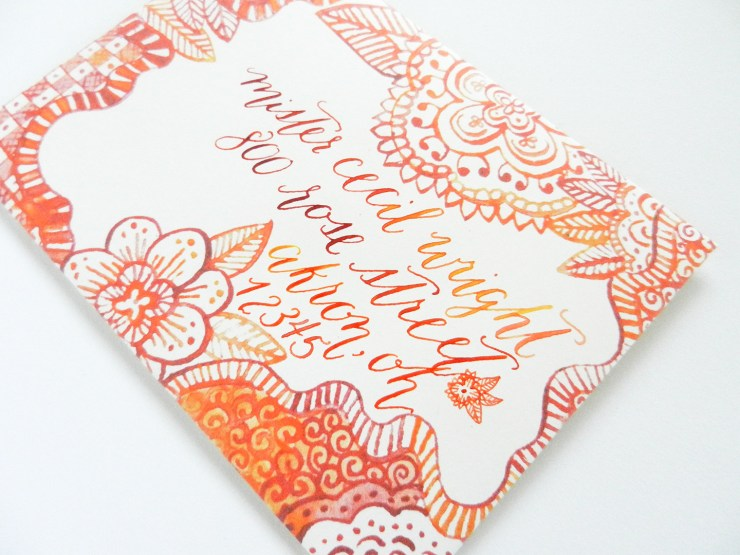 Henna Watercolor Envelope Template | The Postman's Knock