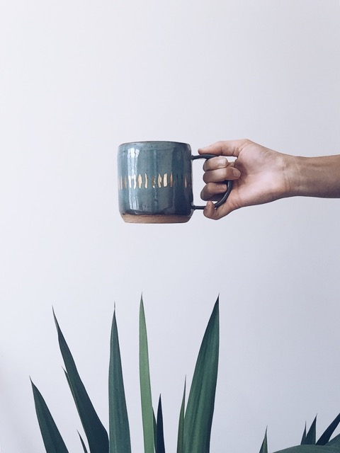 Anna Eaves Blue-Green Cup with Gold