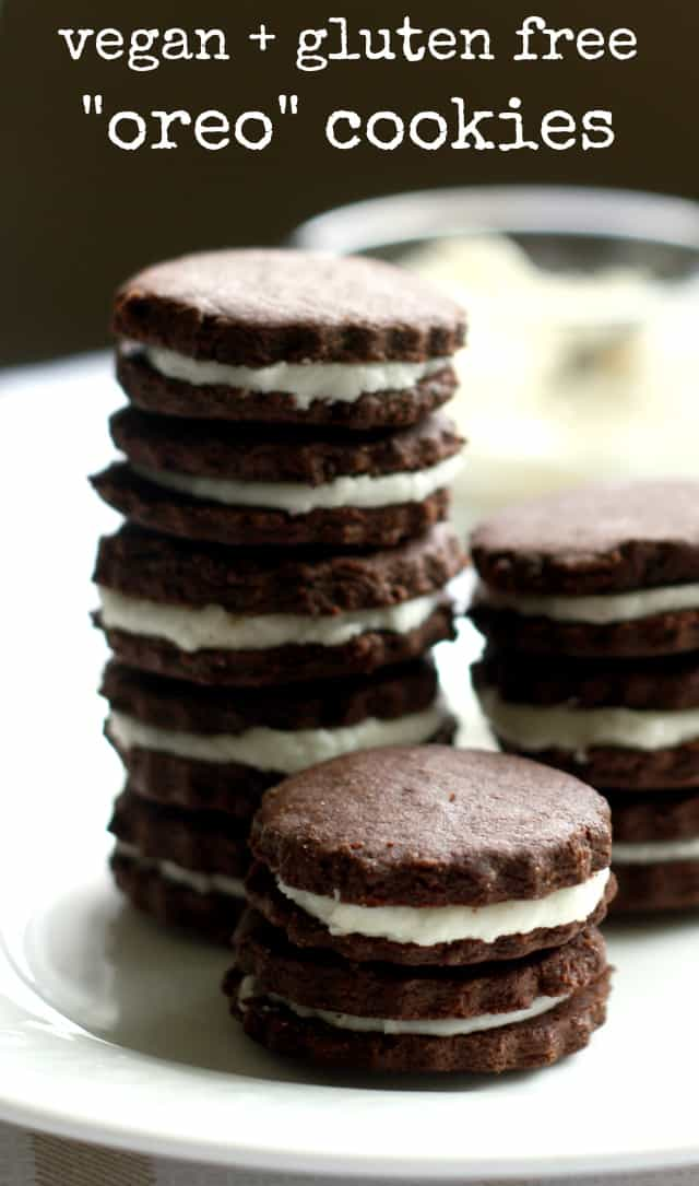 "Make your own gluten free and vegan ""oreo"" cookies at home...bet you can't eat just one!"