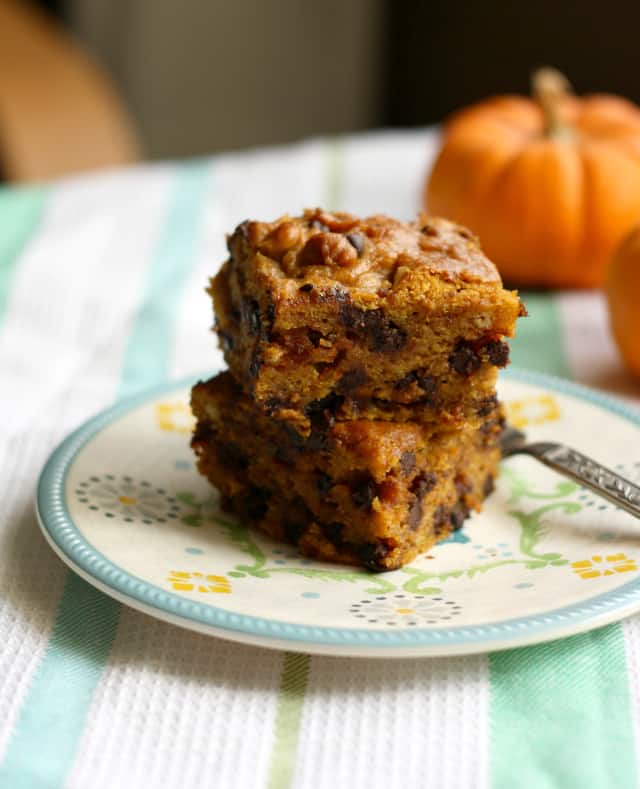 vegan pumpkin chocolate chip cake with gluten free option