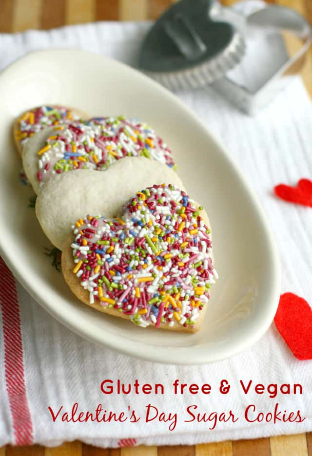 Allergy friendly Valentine's Day sugar cookies - these cookies are gluten free and vegan and taste amazing!
