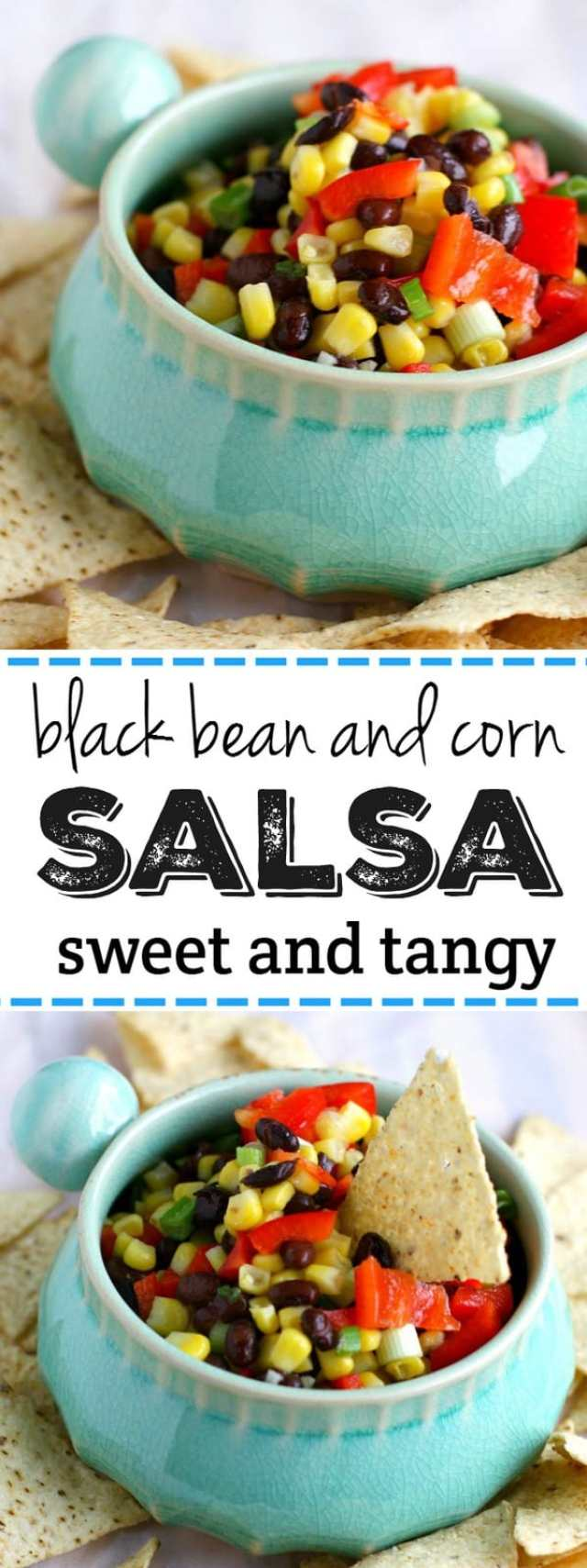 Sweet and tangy black bean and corn salsa is an easy dip that's a real crowd pleaser!