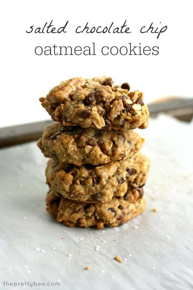 Salted chocolate chip oatmeal cookies - delicious, chewy, and vegan and gluten free! #cookies #dessert