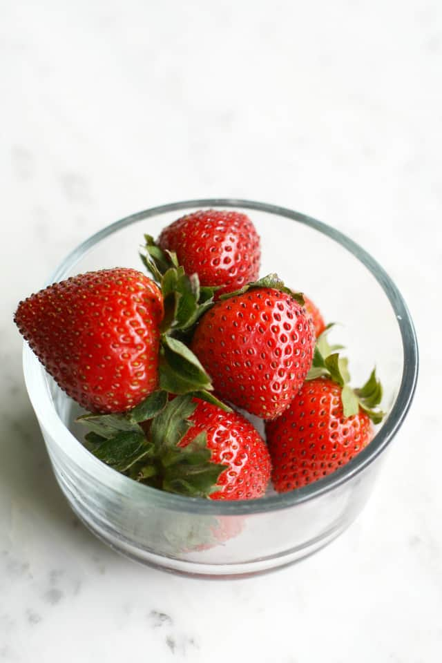Fresh strawberries in a bowl.