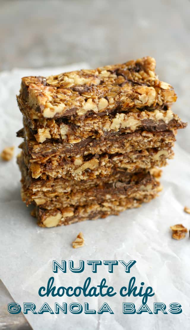 Chewy, nutty, delicious granola bars. These are my favorite chocolate granola bars to make. Delicious and they pack well for lunches.