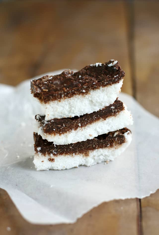 Deliciously easy chocolate coconut bars - just four ingredients! # ...