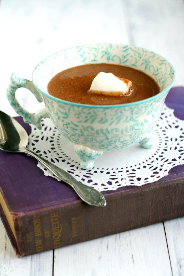 Delicious dairy free decadent coconut cream hot chocolate recipe.