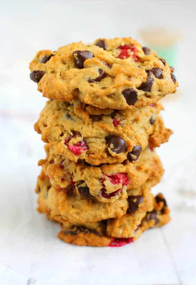 These thick chocolate chip cookies are filled with fresh cranberries and walnuts. These are do delicious for a holiday cookie party!