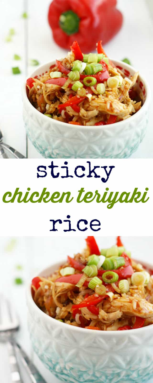 Rice and chicken soaked with a delicious, sticky sweet teriyaki sauce. So good - the whole family will love it! #chicken #teriyaki #sponsored