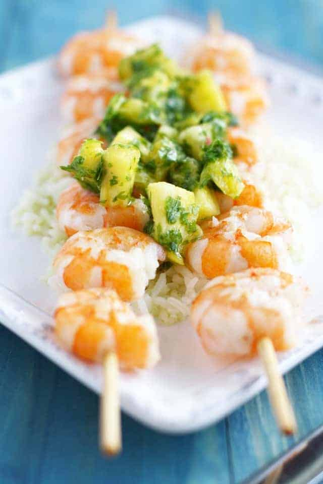 Grilled shrimp with pineapple chimichurri. An easy and flavorful summer meal! #seafood #glutenfree