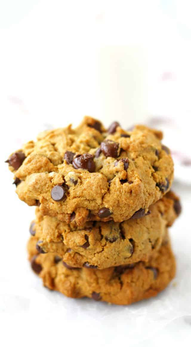 Thick and chewy egg free chocolate chip cookies are perfect with a glass of milk. This delicious version is gluten free and vegan! #vegan #glutenfree #cookies