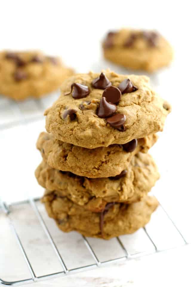 Soft, chewy, irresistible chocolate chip banana cookies. Easy recipe that everyone loves.